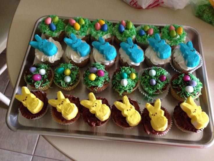 My Easter cupcakes!  Funfetti cupcake mix Chocolate fudge icing Vanilla dream ic…