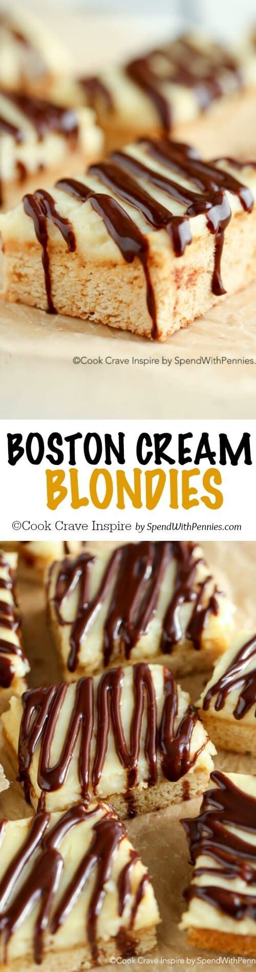 Boston Cream Blondies! An amazing Brownie-like base topped with homemade custard and a rich chocolate ganache! You can't eat just one!