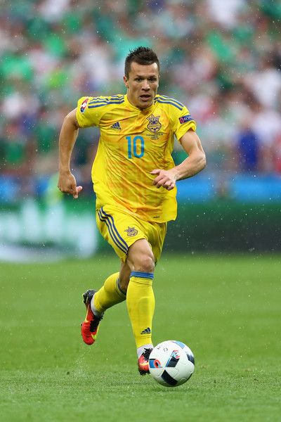 Yevhen Konoplyanka of Ukraine in action during the UEFA EURO 2016 Group C match between Ukraine and Northern Ireland at Stade des Lumieres on June 16, 2016 in Lyon, France.