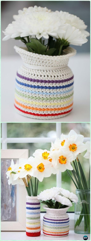Crochet Rainbow Flower Pot Cozy Free Pattern - Crochet Plant Pot Cozy Free Patterns
