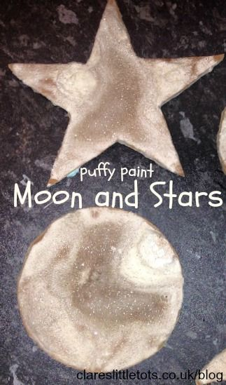 Puffy paint moon and stars. Great for space theme idea for toddlers and preschoolers.