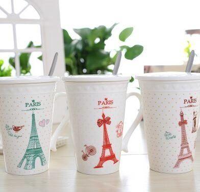 Taza Paris - Torre Eiffel! Tapa Ceramica - Cucharita!! - $ 140,00