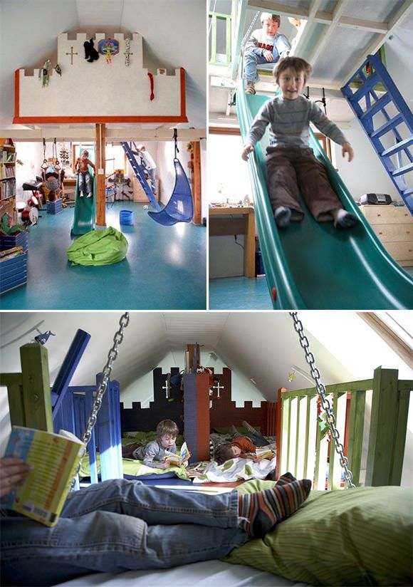 ultimate   love the slide  A bedroom / playroom for boys with beds in the loft