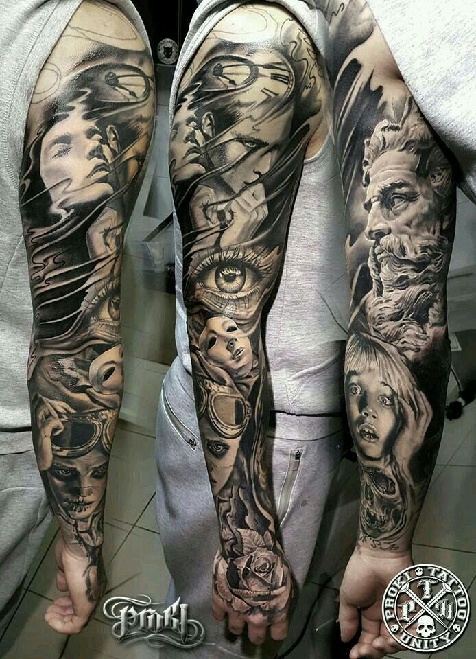 an example of too much realism for me, especially the faces on the forearm.