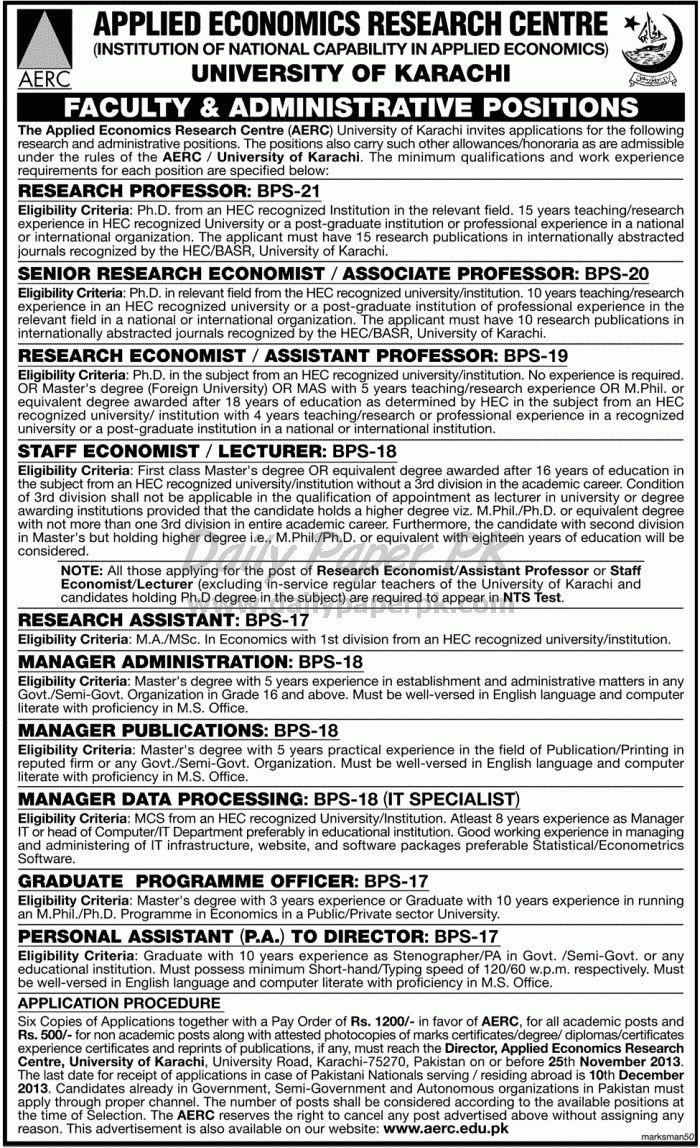 Job Opportunities in Applied Economics Research Centre (AERC) University of Karachi http://www.dailypaperpk.com/jobs/198661/job-opportunities-applied-economics-research-centre-aerc-university-karachi