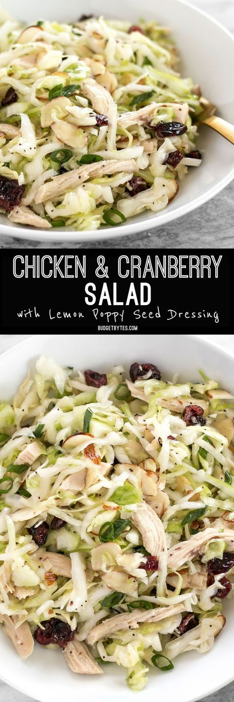 This Chicken and Cranberry Salad combines tender cabbage, nutty almonds, sweet cranberries and a tart lemon poppy seed dressing, plus enough chicken to make it a meal. @budgetbytes