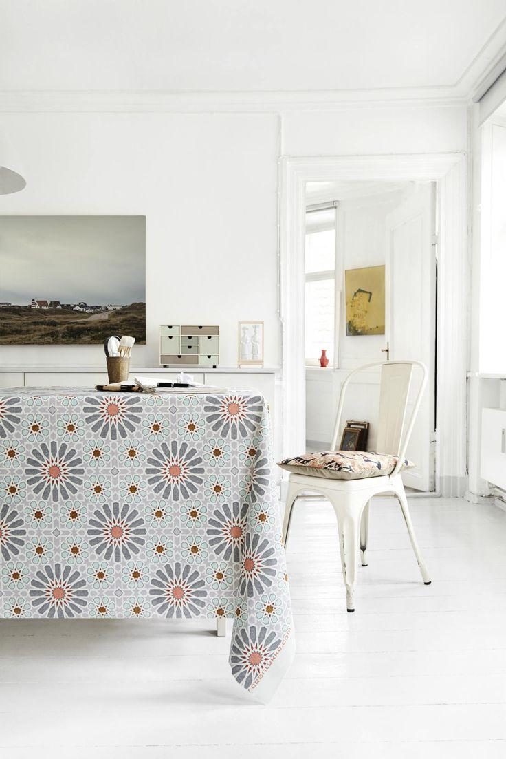 Almost Linen Oilcloth in Marroc Dark Grey & Mint. Buy online.
