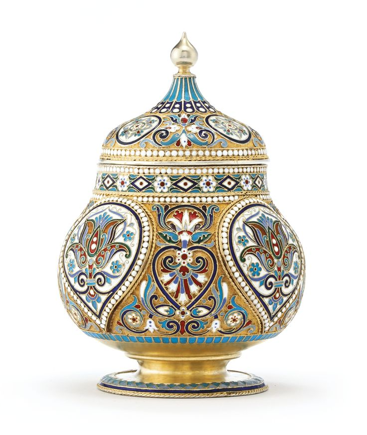 A Russian gilded silver and cloisonné enamel tea caddy, Moscow, 1895   Lot…