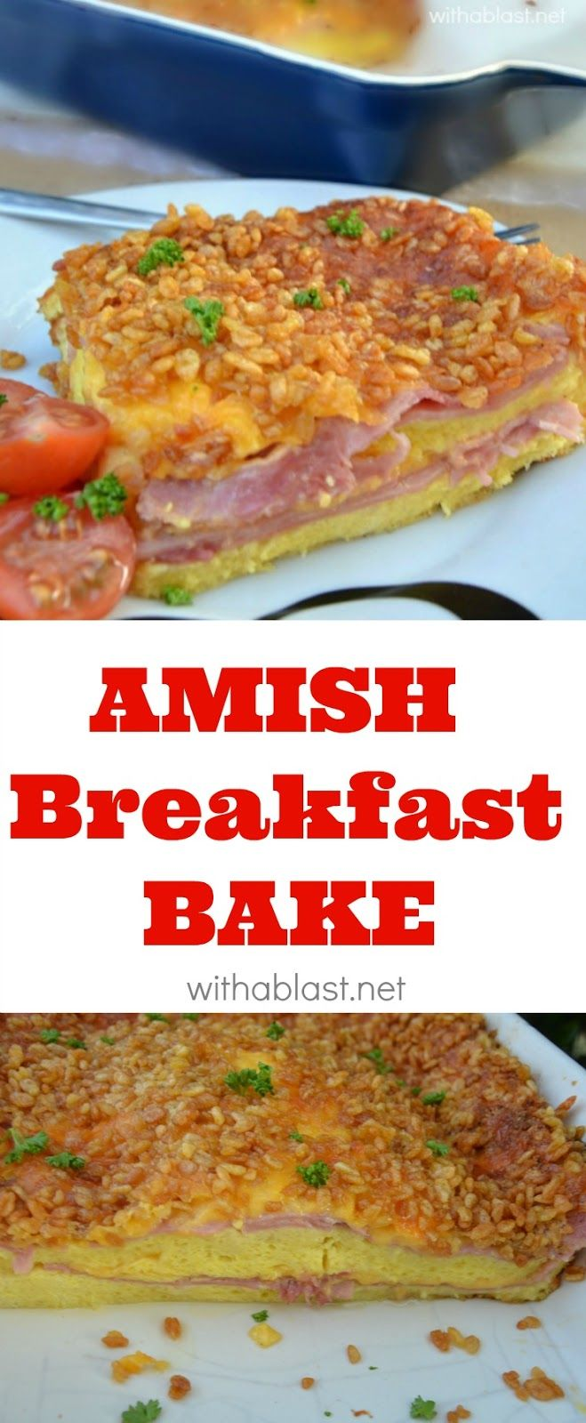 Layers of bread, ham, cheese and an egg mixture results in this fluffy omelette textured layered Amish Breakfast Bake - absolutely scrumptious and I love the quick prepping too - by the time the oven is heated, the dish is also ready to be baked