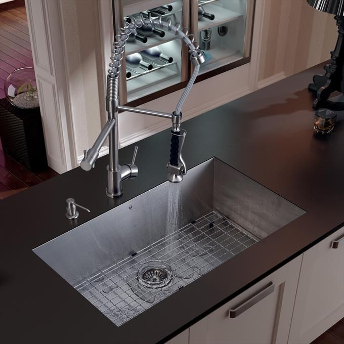 Undermount Stainless Steel Kitchen Sink With Faucet, Grid, Strainer And  Dispenser
