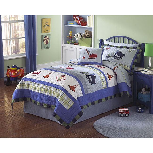 <li>Trucks at Work set includes quilt and pillow shams (one with twin, two with full/queen)</li> <li>Handcrafted bedding set features embroidered accents including industrial machinery</li> <li>Kids' bedding prewashed for out-of-the-bag comfort</li>