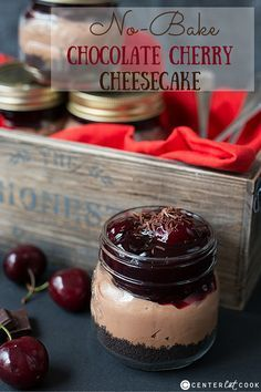 No-Bake Chocolate Cherry Cheesecake 10 chocolate Oreos (including filling) 1 tbsp melted butter 1 x 8oz pack cream cheese 1/2 tsp vanilla extract 1/2 cup confectioner's sugar 1/2 cup heavy cream 2.25oz melted bitter-sweet chocolate 2.25oz melted semi-sweet chocolate 12 fresh cherries, pitted 1 x 14.5oz can black cherry pie filling 2 tbsp semi-sweet chocolate, grated
