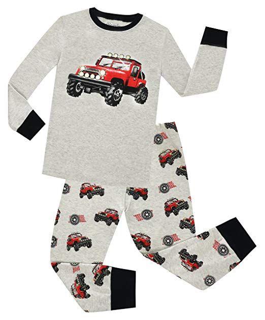 c9c6f7b6d29f Christmas Boys Pajamas Set 2 Piece 100% Car Cotton Clothes Toddler ...