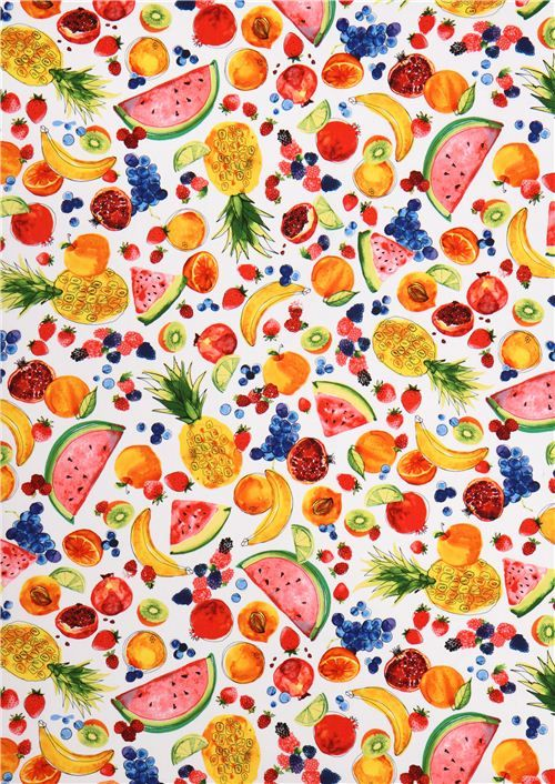 white fruit food fabric Robert Kaufman Metro Market Margaret Berg