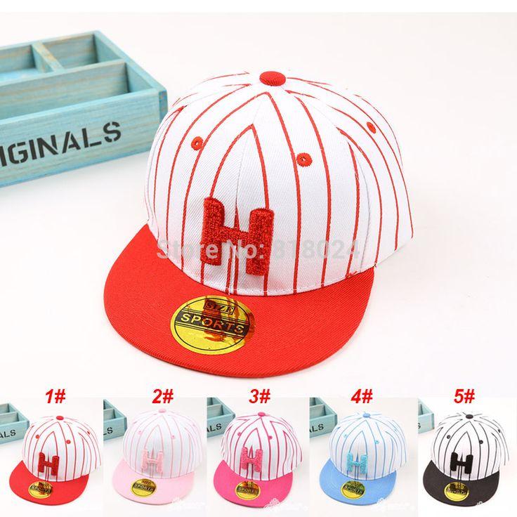 Купить товарГорячая мода марка полосатый Snapback для детей письмо H дети бейсболка регулируемая шляпа мальчик девочка прямая поставка в категории Бейсболкина AliExpress.