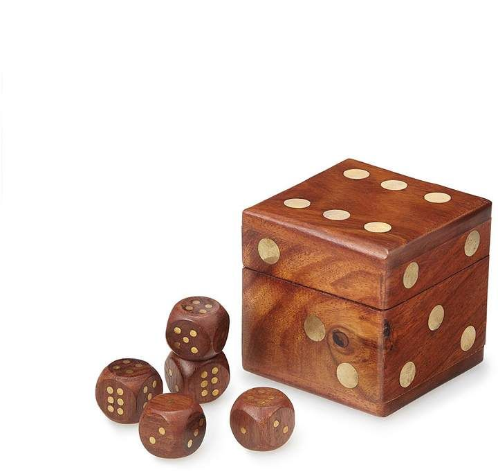Wooden Dice Set, made from sustainably harvested rosewood with inlaid brass pips, this set of five dice can be used for a variety of #classic #games  #handmade #handcraft