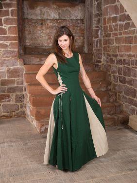 Ärmelloses Kleid aus grünem Baumwollcanvas, mit naturfarbenen Keileinsätzen und Schnürung an den Seiten
