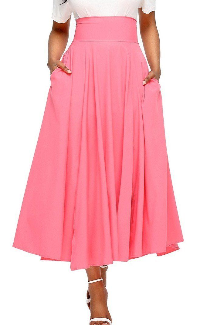 Fashion Pink Retro High Waist Pleated Belted Maxi Skirt ChicLike.com