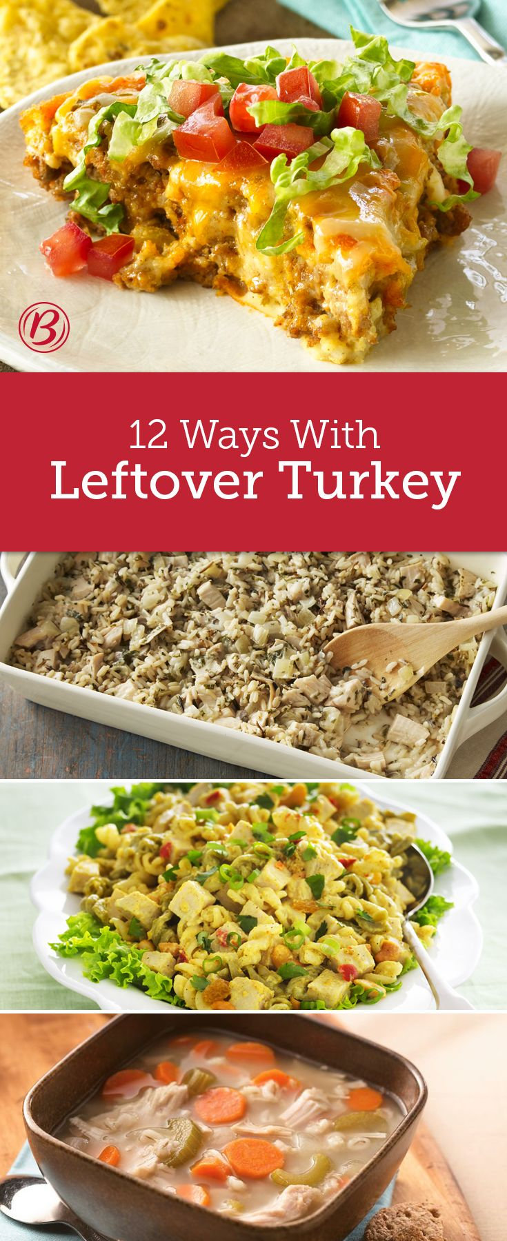 Put that excess bird to good use with 12 meals that completely transform your leftovers. Combined with rice and herbs for a casserole, mixed with cheese and pasta for a tetrazzini or put in a ribstickin' chunky soup, you won't be bored with these leftover turkey ideas.