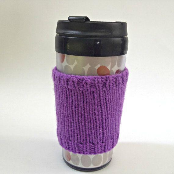 Coffee cozies, coffee cup sleeve, knit coffee cozy, knitted coffee cozy, coffee accessories, purple coffee mug, coffee sleeve, coffee cozy on Etsy, $15.00 CAD