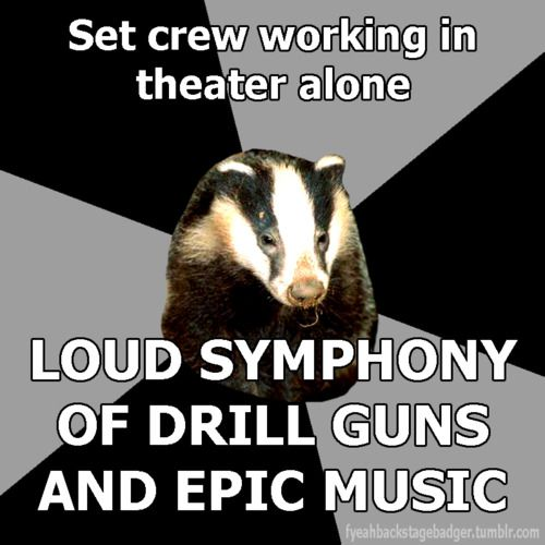 The Backstage Badger Set crew working in theater alone Loud symphony of drill guns and epic music