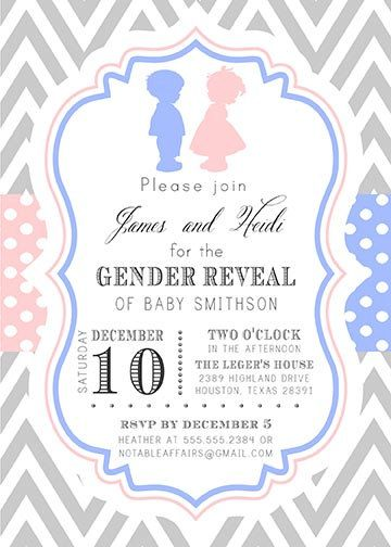 Chevron and Polka Dots - Boy Girl gender reveal, gender ...