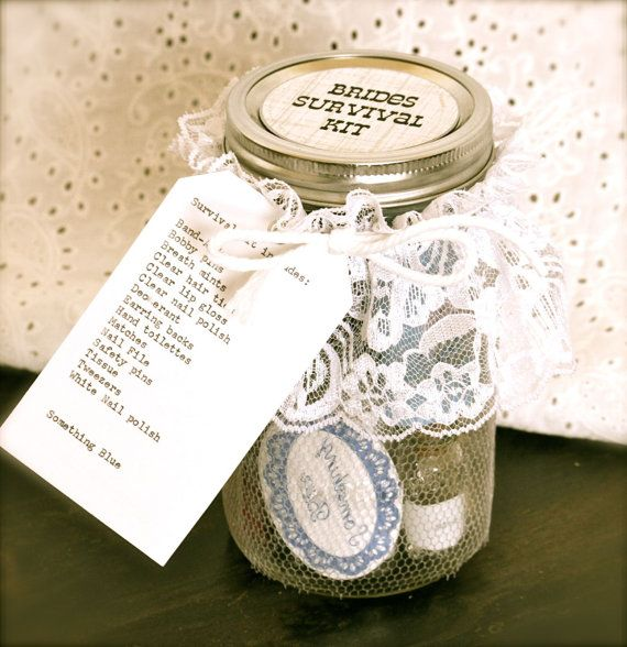 Wedding Day Survival Kit in Mason Jar for Bride on Etsy, $33.00