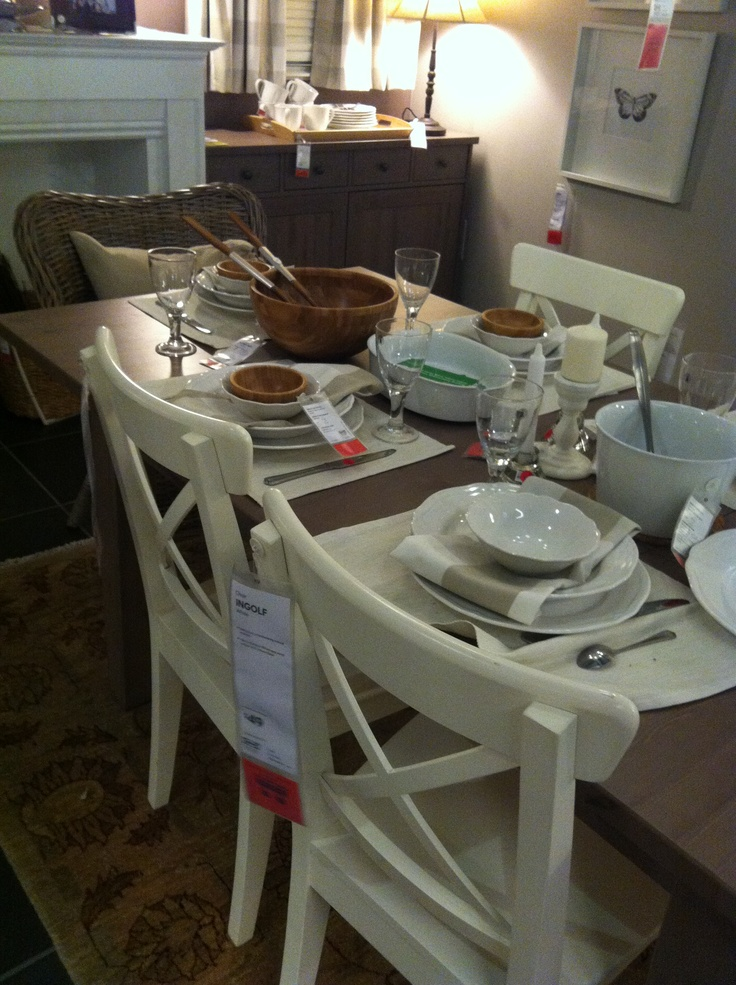 Ikea stornas table in grey brown songe mirror ingolf chairs in white wicker chairs at the - Wicker dining chairs ikea ...