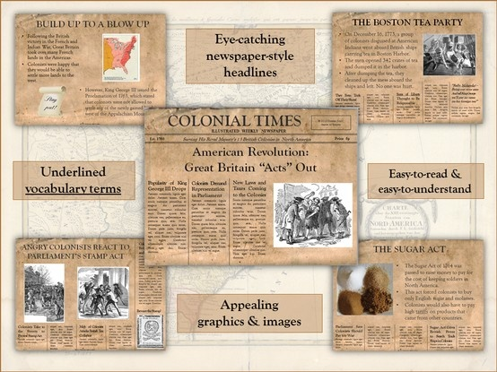 revolutionary war newspaper template american revolution great britain acts out powerpoint