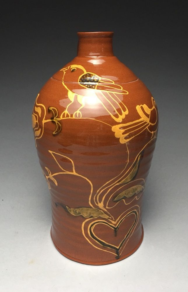 Greg Shooner 1985  Redware Slip Decorated Jug  | eBay