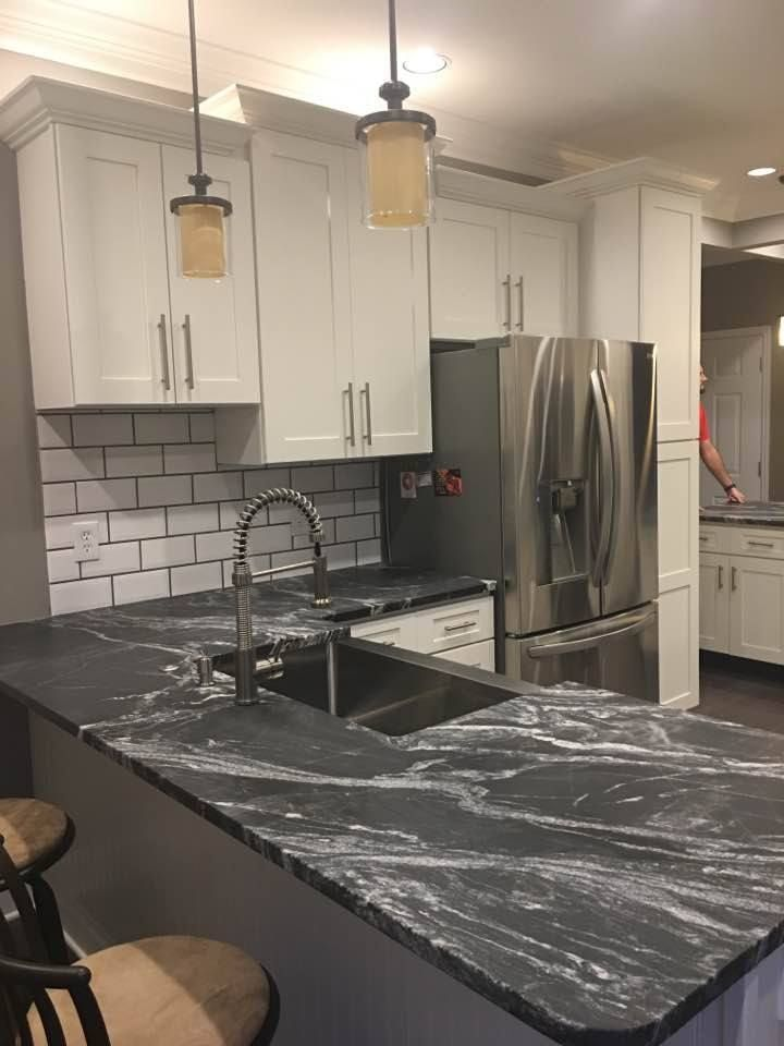Beautiful Black Forest Leathered Granite Countertops By