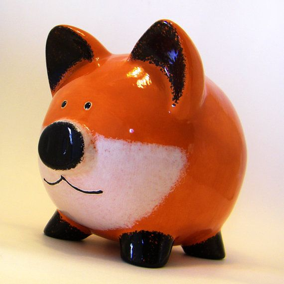 Red Fox Piggy Bank - Personalized Piggy Bank - Woodland ...