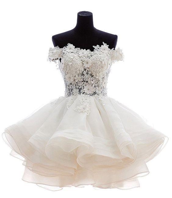 Lovely Ball Gown Off Shoulder Knee Length Organza