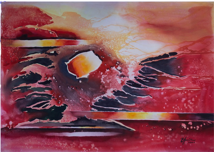 'Phoenix Rising' by Benjaminas. Medium: Watercolour. Fine Art Supplier - Drai Fine Art.