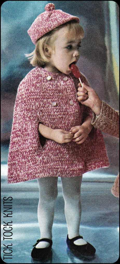 No107 PDF Vintage Knitting Pattern Girl's Tweedy by TickTockKnits, $3.50