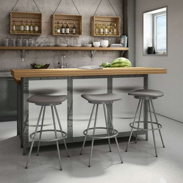 Amisco Beacon Swivel Metal Bar Stool
