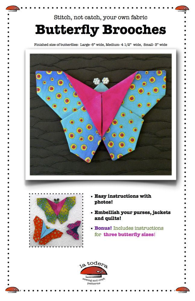 Origami Fabric Butterfly Brooches PDF Pattern cover- La Todera