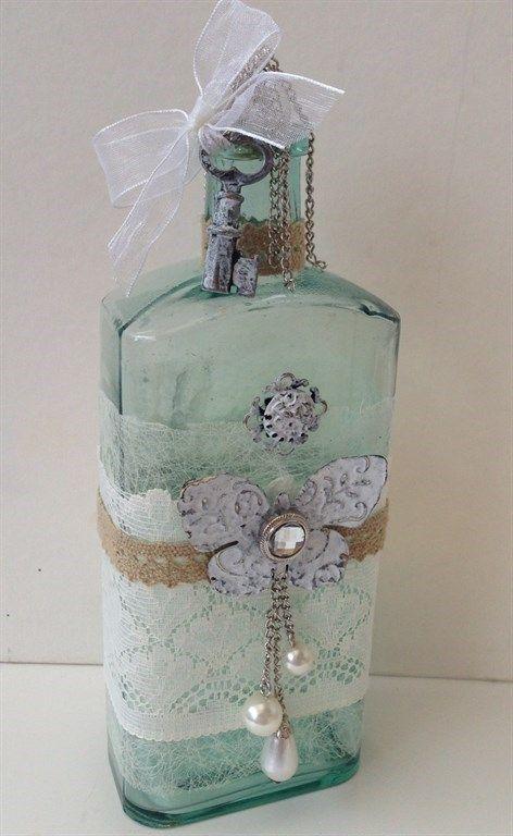 2980 best images about diy wine bottles mason jars tins - Decorar estilo shabby chic ...