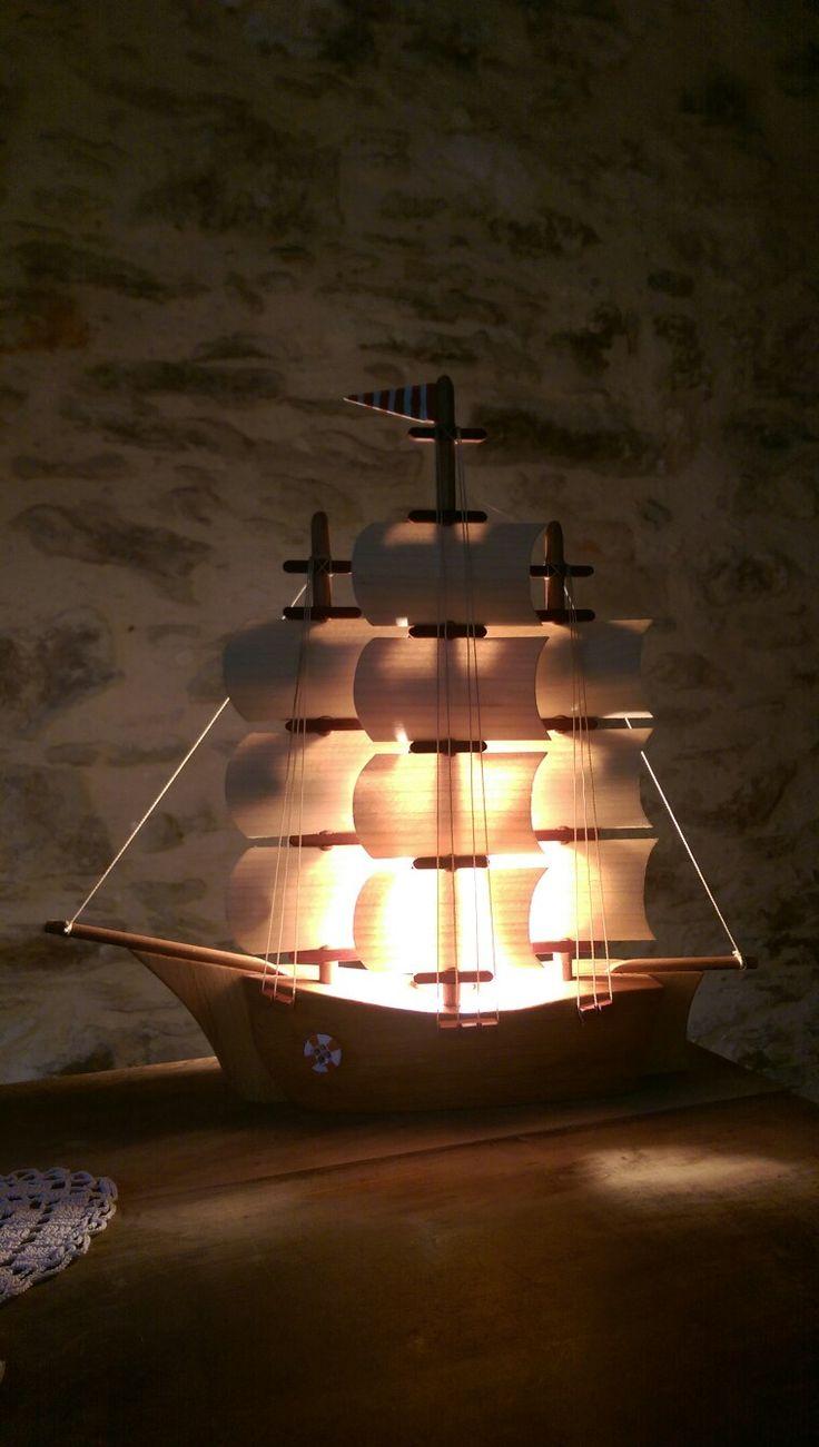 Wooden sailboat light. Handmade wedding present.