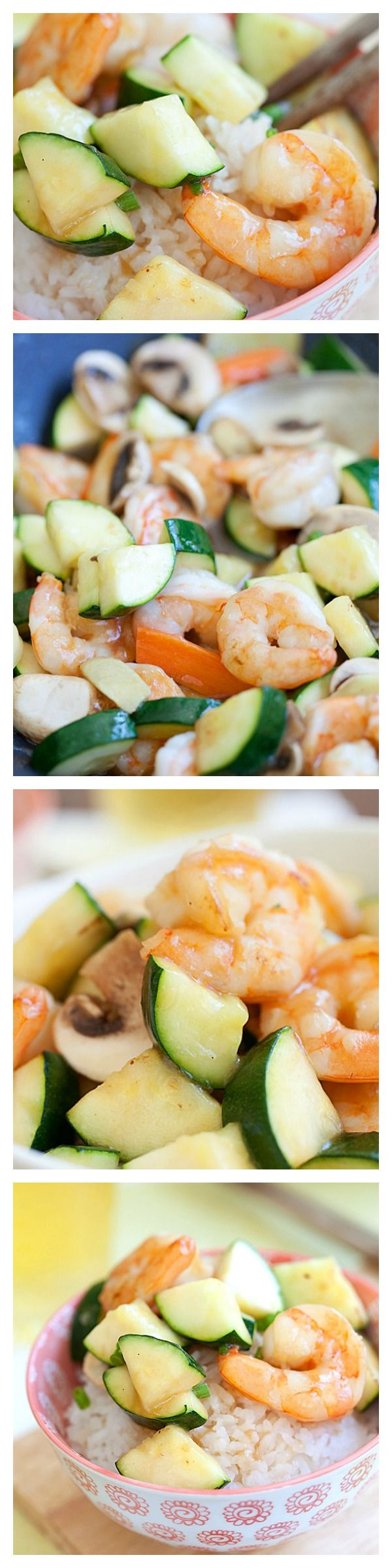 Zucchini and Shrimp Stir-Fry - Super easy, refreshing, yummy and takes less than 30 minutes. Make it tonight for a healthy and light dinner!