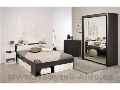 Moderní ložnice s postelí a skříní