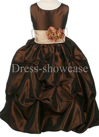 Sleeveless Dark Brown Taffeta Ball Gown Flower Girl Dress #flowergirls #flowergirldress #cutedress #dress #beauty #cute #wedding #birthdaydress