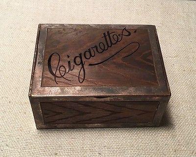 Tiffany & Co. Antique Mixed Metal Copper Silver Soldered Enamel Cigarette Box