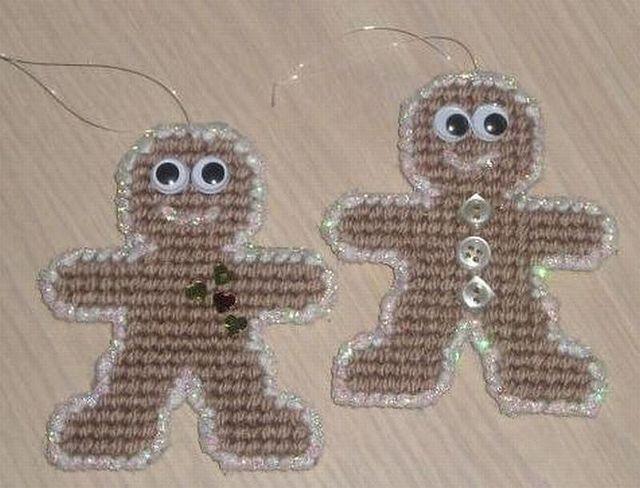 pc-gingerbread men  plastic canvas ornaments