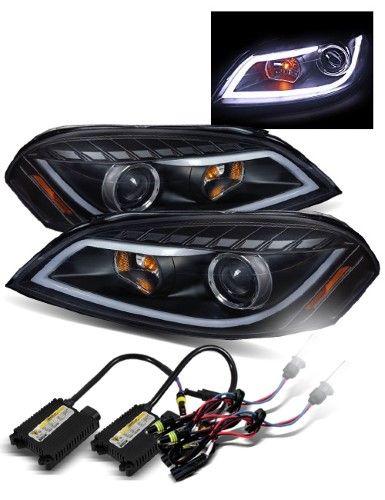 6000k Hid For 06 07 Monte Carlo Black Fiber Optic Led Tube Projector Headlights Projector Headlights Impala Chevy Monte Carlo