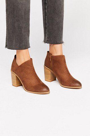 8da8fbc43715 Vegan Julia Heel Boot - Brown Matte Leather Stacked Heel Boot