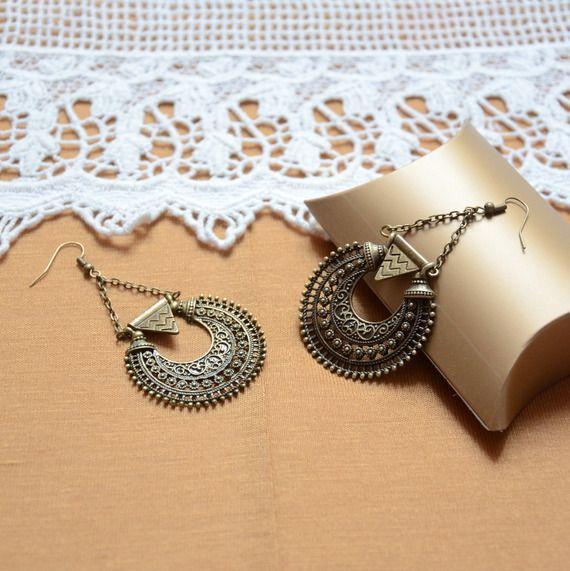 boucle d'oreilles bronzes créoles bijou ethnique et bohème chic, bijou cadeau idée bohème mode femme chic