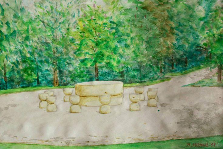https://flic.kr/p/21DzdNY | Masa tăcerii a lui Constantin Brancusi din Targu Jiu. | Pictura in acuarela pe hartie A3 realizata la fata locului pe 17 aprilie 2017.