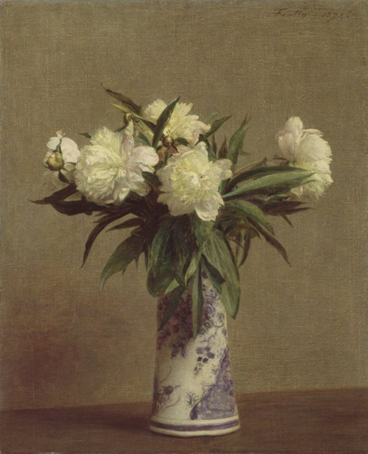 Henri Fantin Latour  Peonies in a Blue and White Vase, 1872  The Armand Hammer Collection