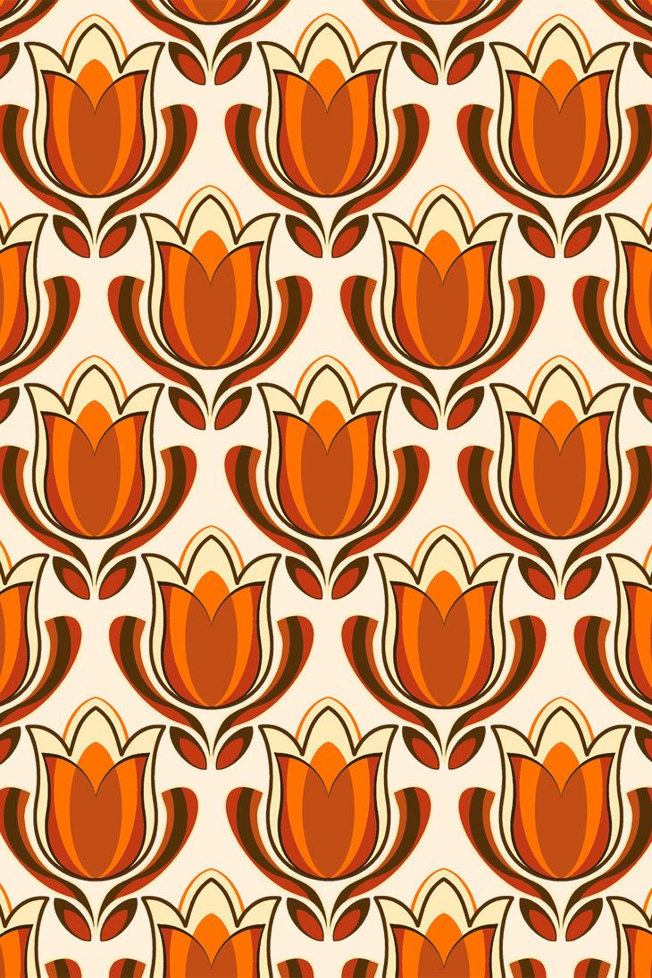 Retro tulip print by pinkandfluffy